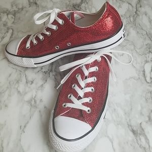 Converse All Star Red Glitter Low Top Sneakers 10